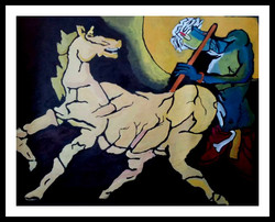 Krishna with Horse - 26in X 20in(Border Framed),ART_PHME38_2620,Artist Paresh More - Buy Online painting in india