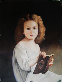 Bougeareau01 - 28in X 36in (Framed),black background painting,Framed Painting,Small Girl,FIZ040BGR_FRM_2432,Yellow, Brown,60X80,Replicas Art Canvas Painting,Girl with Book Buy canvas art painting online for sale by fizdi.com in India