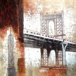 landscape,monument,bridge,brown,painting of the bridge,bridge painting