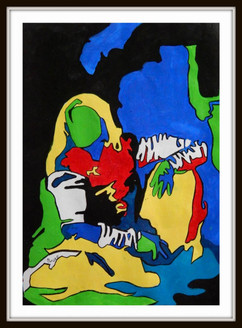 Modern Art  - 12in X 16in (Border Framed),ART_PHME59_1216,Artist Paresh More,Lady,Women,Abstract Lady,Buy Online painting in india