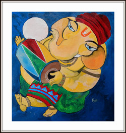Ganesha In Musical Mood - 21in X 20in (Border Framed),ART_PHME50_2120,Artist Paresh More,Ganesha,ganesha with musiacal instruments,ganesha paintings, Buy Online painting in india