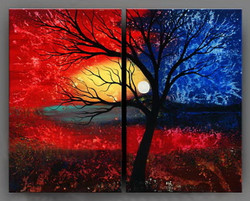 tree,night,moon,lonely tree,red,forest,painting og tree,abstract
