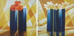 flower, flowers, vase, flower vase, flowers in vase, vase pair, blue