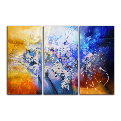 25GRP408 - 48in X 36in (16in X 36in each X 3  Pcs.),Multi Abstarct Art,Designs,Patterns,Canvas,Oil Colors,25GRP408_4836,Blue, Violet, Mauve,Rs.3490,Abstract;Multi Piece;Latest Collection;By Orientation and Size/Horizontal/X.Large (41in to 50in);Full