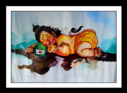 Bal Hanuman - 29in X 25in (Border Framed),ART_PHME63_2925,Artist Paresh More,Bal Hanuman,Baby Hanuman,God - Buy Online painting in india