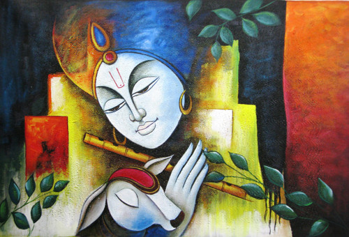 Buy krishna with cow by community artists group rs 4990 for Best way to sell paintings online