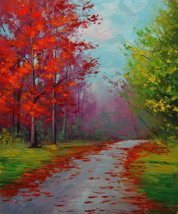 Landscape,Red Way,Forest Path,Floral Path ,Red Tree