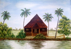 house, landscape, river, coconut tree, house near the river