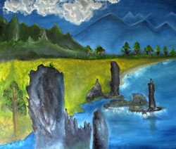 Clouds and Rocks - Handpainted Art Painting - 42in X 36in (Stretcher Framed)