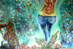 Girl with Flowers - Handpainted Art Painting - 36in X 22in (Stretcher Framed)