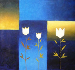 Three with Blues - Handpainted Art Painting - 36in X 36in