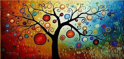 Magic Tree - Handpainted Art Painting - 48in X 24in