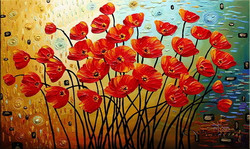 Red Poppy - Handpainted Art Painting - 48in X 24in