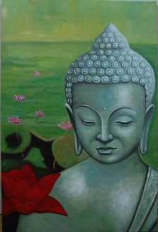 Buddha With Red Flower,Meditaion,Peace