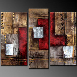 abstract, multipiece abstract, brown abstract,red, squares