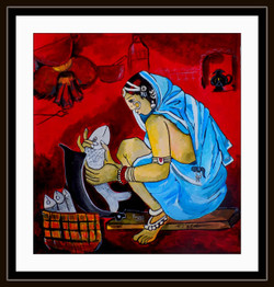 lady, women, woman, girl, working lady, working woman, woman selling fish, red, lady in saree
