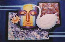 buddha, buddha painting, lord buddha, buddha with swan, abstract buddha,blue, flower, lotus
