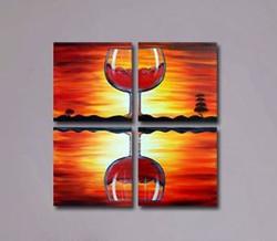 reflection, glass , wine, glass of wine, tree, orange,abstract, multi piece, multi piece glass