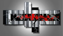 abstract, red abstract, multi piece red abstract