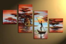 man, boat,man on boat, river, woman, lady, girl , lady waiting , woman waiting , girl waiting for man, sun, hut, tribal, tribe