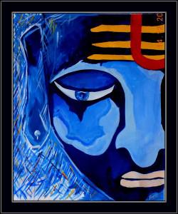 Lord shiva, shiv, blue, abstract shiva, abstract lord shiva