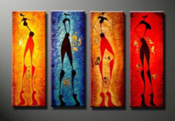 Party Folk - Handpainted Art Painting - 48in X 36in