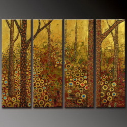 Way Through Woodland - Handpainted Art Painting - 48in X 36in