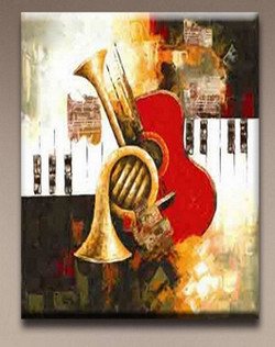 Music 2 - 24in X 36in,RTCS_19_2436,music,sound,Art,Red,Pink,Oil Colors,Canvas,Community Artists Group,Museum Quality - 100% Handpainted