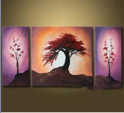 tree, trees, red flower, plants, multi piece tree