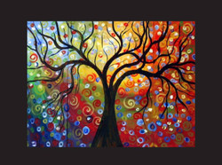 tree, trees, one tree, tree with multi color background