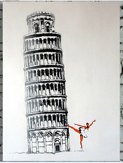 Pisa Tower,Lady Streching , excercise,Leaning Tower of Pisa