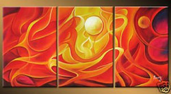 Sun and Fire - 48in X 24in (16in x 24in each x 3pcs.),RTCS_59_4824,Multipiece,Acrylic Colors,Canvas,Abstract,Red Background,Sun,Fire - Buy Canvas Painting Online in India.