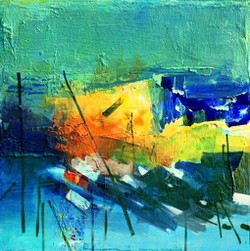 abstract , abstract painting, blue abstract, green abstract, yellow, stroke, stoke abstract