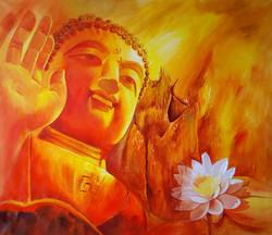 buddha, lord buddha, buddha with pink lotus, orange buddha , abstract buddha , buddha with orange background