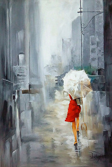 lady, lady with umbrella, landscape, cityscape, umbrella, rain, rainy day, rain in city, rainy day at city, woman, woman with umbrella, red