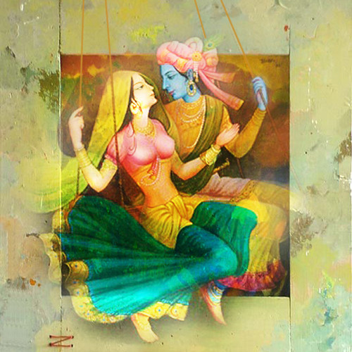 Buy radha krishna on swing by vekkas mahalley rs 8590 for Buy mural paintings online