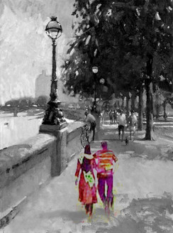 city, cityscape, couple in city, couple, couple taking walk, walk in city, romance, romantic walk,black and white