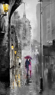 couple, romantic, romance, city, couple in city, couple in rain, cityscape, street, street lights, umbrella, pink umbrella, rain, rainy day in city,black and white