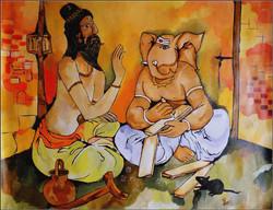 Ganesha,Writing Mahabharat,Ganesh Writing Mahabharat,Moraya