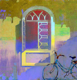 window, abstract window, window painting, cycle, bicycle,cycle near home, cycle near window