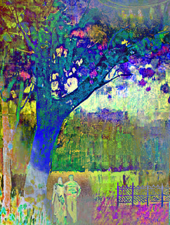 abstract landscape,cityscape, couple, couple in park,park, garden, couple taking a walk, evening walk at park
