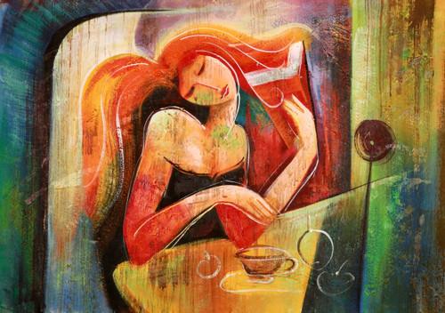 girl, lady, woman, woman thinking, lady thinking, girl thinking, girl making coffee