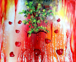 apple, friut, apple tree, abstract tree, red apples, apple painting