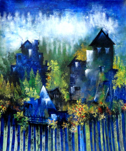 abstract, landscape, house painting, blue house, home, dream, house with tree, tree