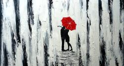 Figurative,Colorful Life,Couple,Romantic Couple,The Kiss,Love,Red Umbrella