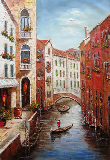 Venice 10 - 24in x 36in,RTCSB_25_2436,24in x 36in ,Venice,Landscape,River,Scenery, Colors,Canvas,Community Artists Group,Museum Quality - 100% Handpainted