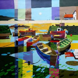 Riverwalk 1 - Handpainted Art Painting - 32in X 32in