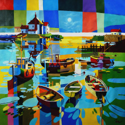 Landscape,Seascape,Boats,River Walk,MultiColor Picture