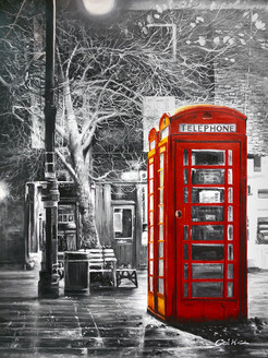 Telephone Booth,Red telephone Booth,Snow Night