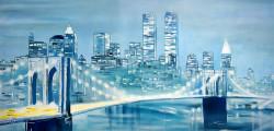 landscape, cityscape, bridge, bridge painting, painting of city, city painting, bridge in city, bridge at night, night, city at night ,buildings